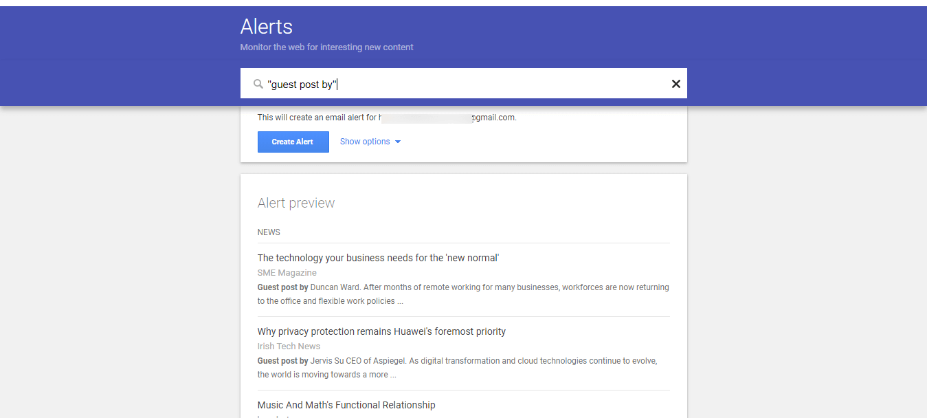 Google Alerts Monitor the Web for interesting new content 3