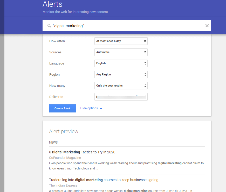 Google Alerts Monitor the Web for interesting new content
